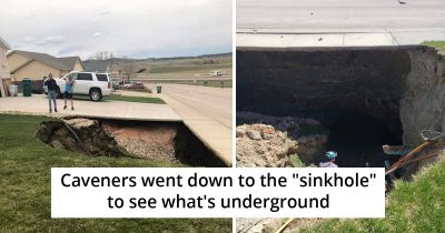 Huge Sinkhole Opens Up In South Dakota, People Go Inside And Share Pics