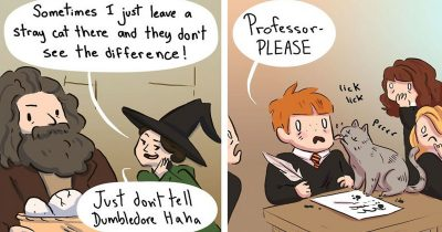 Artist Draws Hilarious Comics Of Life In Hogwarts When People Aren't Looking