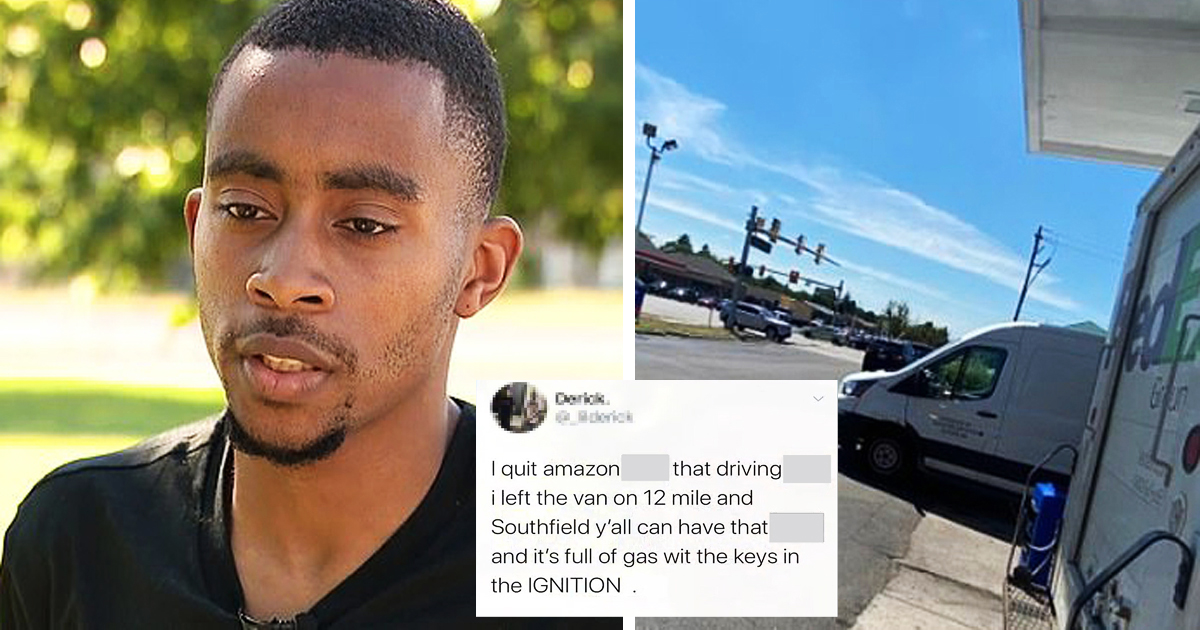 Amazon Driver Fed Up With Long Hours And Low Pay Quits Mid-Shift And Left His Van