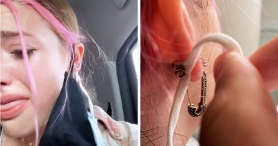 Teen TikToker Accidentally Got Her Mask Strap Pierced Into Her Ear By Icing Employee