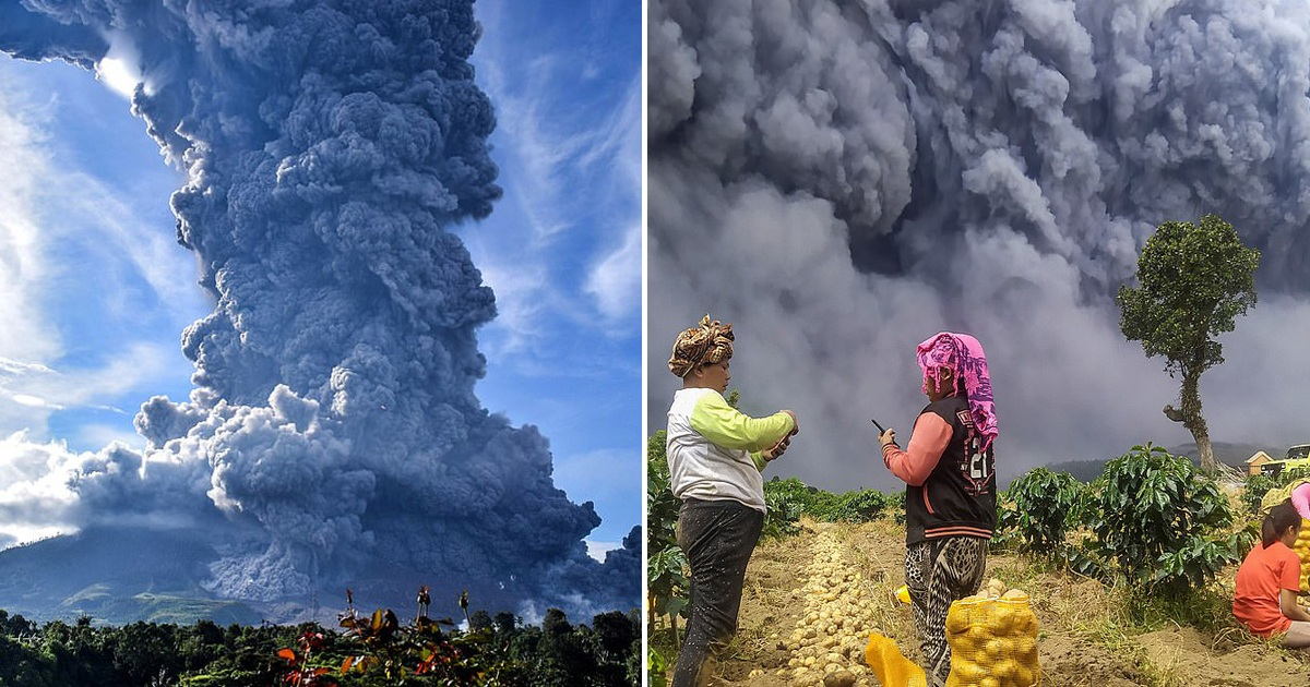Indonesian volcano Mount Sinanbung Spews A Column of Ash Three Miles Into The Sky