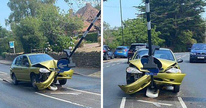 Man Smashes His Car Into A Road Sign After Noticing A Spider Inside The Car