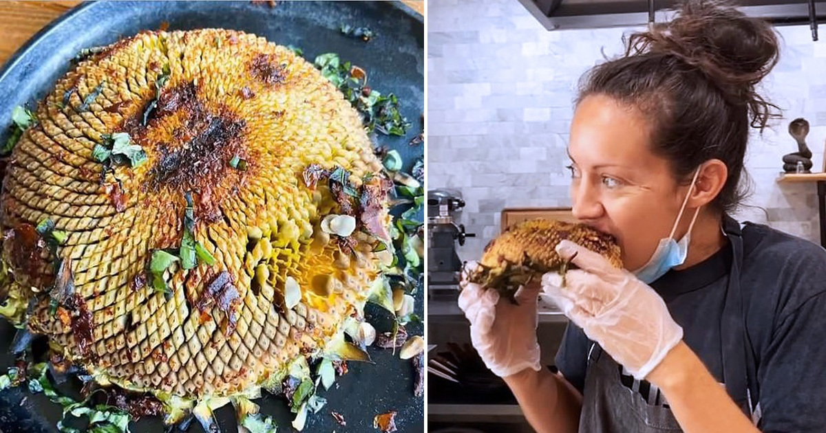Latest Food Trend: People Grilling Whole Sunflower Head And Eating Them Like Corn On The Cob