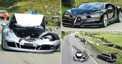 Bugatti Chiron And Porsche 911 Crash As They Both Tried To Overtake A Motorhome