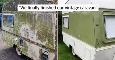 Couple Amazingly Transform 50-Year-Old Rusty Caravan They Bought For £50