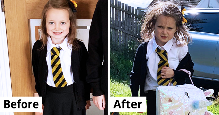 25 Hilarious Before And After Pics Of Kids On Their First Day At School
