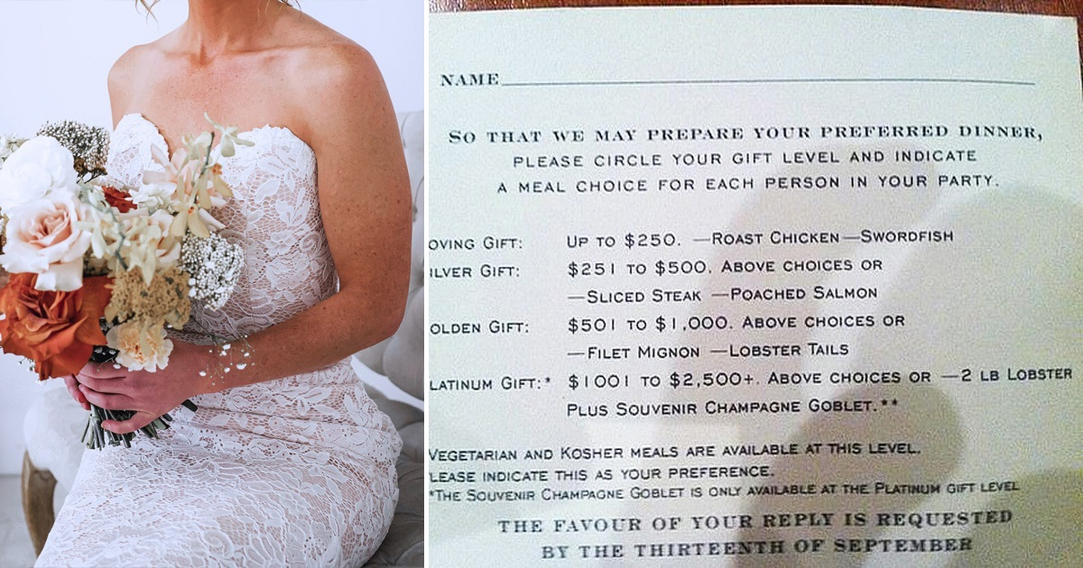 Bride Slammed For Offering Guests Meals Depending On Their Cash Gifts