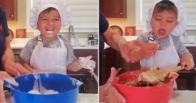 Impatient Toddler Eating Raw Ingredients While Nana Make Cookies, Goes Viral
