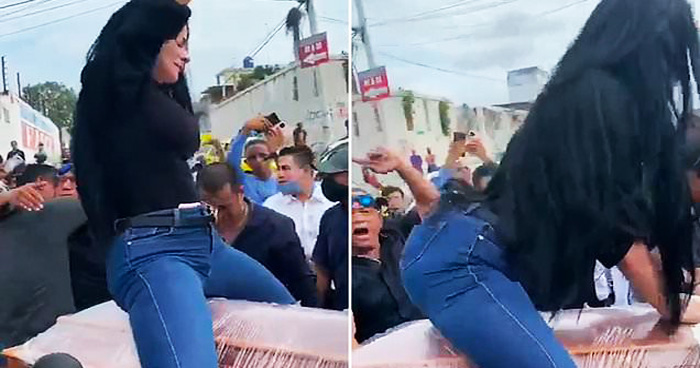 Woman Goes Viral For Twerking On Top Of A Coffin In Front Of Cheering Crowd