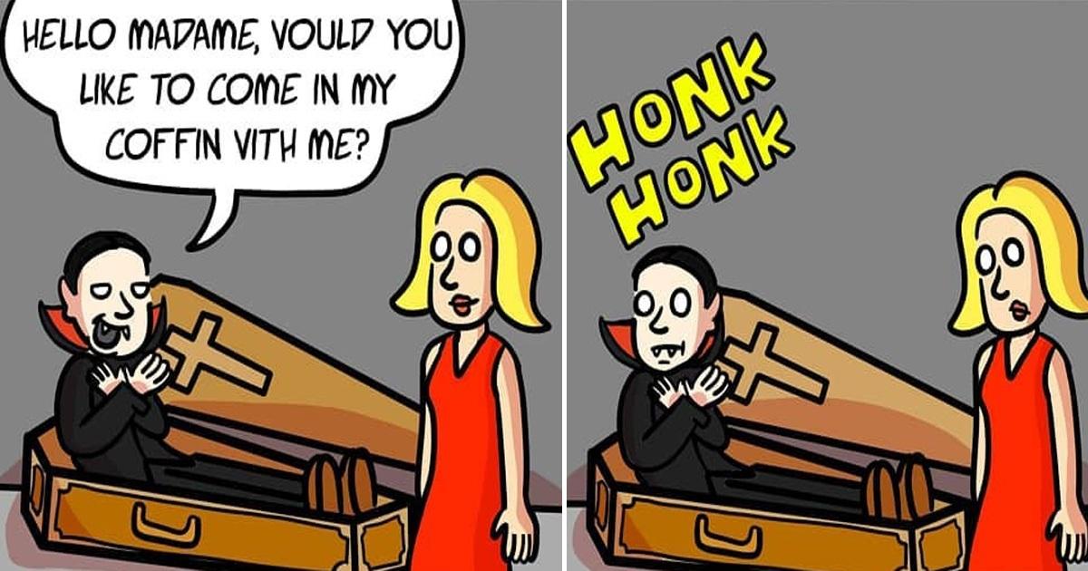 Artist's 30 Quirky Comics Which Dark Humor