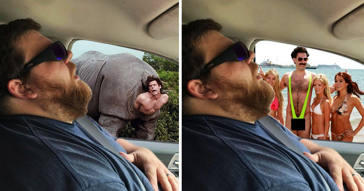 Wife Photoshops Sleeping Husband's Pics To Show What He Missed And It's Hilarious