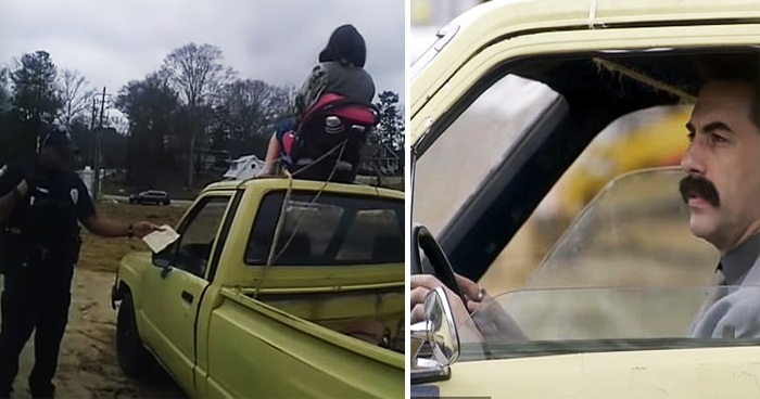 Georgia Cops Hilariously Pulled Over Borat For Strapping Daughter On The Top Roof Of A Truck