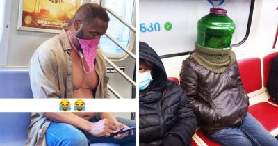 30 Times People Spotted Wearing Most Hilarious Masks On The Subway