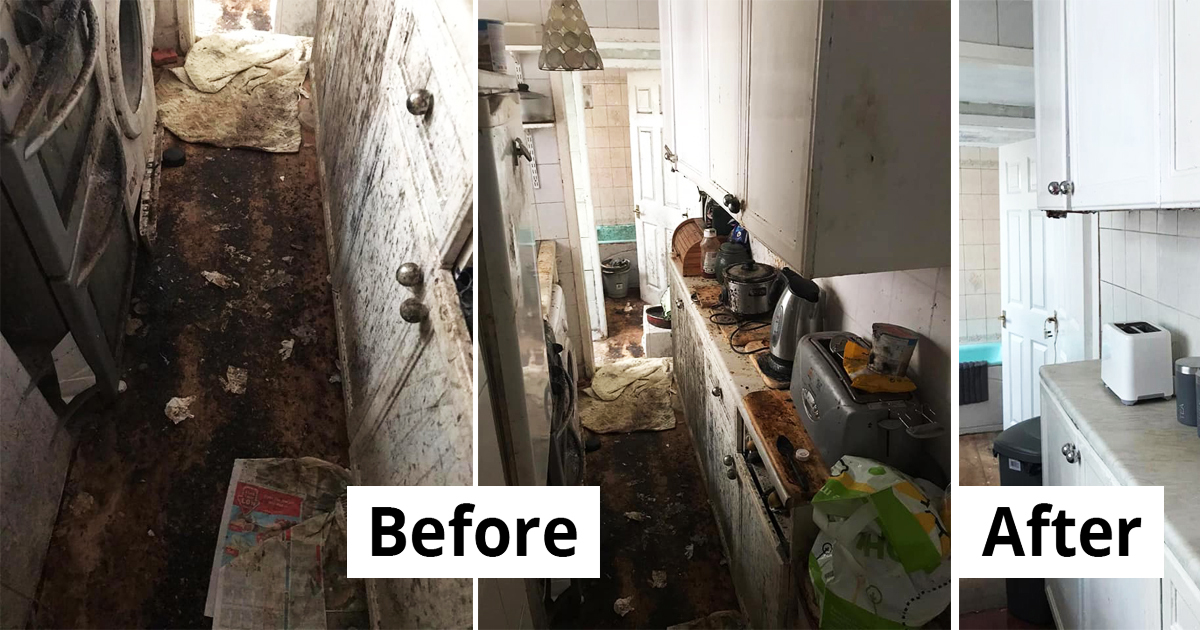 Cleaning Team Spend 50 Hours To Clean A Widower's Home In Worst Condition