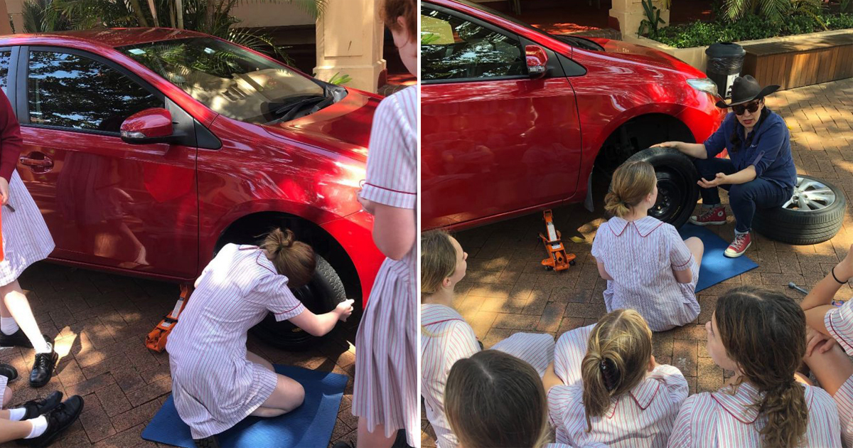 School Teaches Teen Girls How To Change Tyres And Check Coolant Levels As Part Of New Initiatives