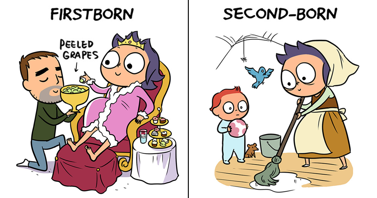 A Mom's 16 Hilarious Comics That Really Nailed First-Born Vs. Second-Born