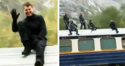 Tom Cruise Waves From Top Of Speeding Train While Shooting Mission: Impossible 7