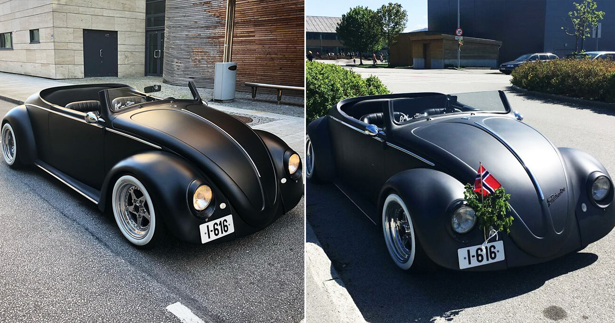 Guy Turned 1961 VW Beetle Deluxe Into A Stylish Black Matte Roadster