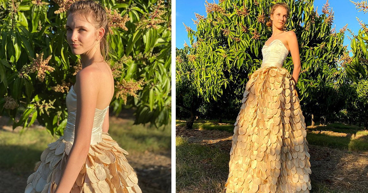 Girl Made A Stunning Full-Length Ballgown Using Seed Husks From Mangoes