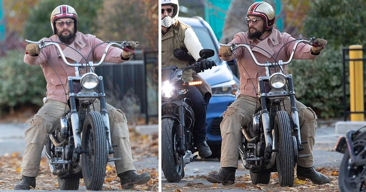 Jason Momoa Rocks Pink Motorcycle Jacket To Ride His Harley In Toronto