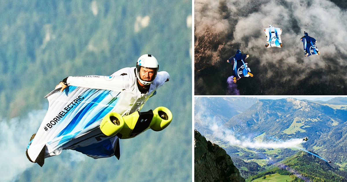 Skydiver Designed First-Ever Electric Wingsuit With BMW That Hits Speed Of 186 Miles Per Hour