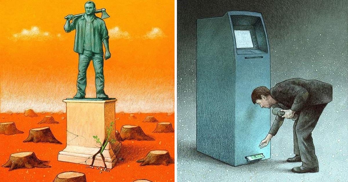 Artist Shows Modern Society's Issues In 25 Stark Illustrations