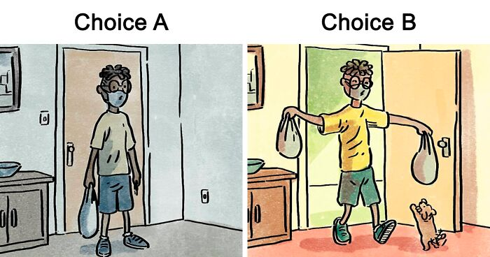 Artist Draws 10 'The Choice' Comics That Compare Life With And Without A Dog