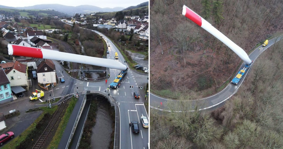 Amazing Pics Show Skillful Hauliers Carrying Huge Wind Turbine Blade Through Small Towns