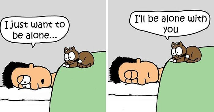 Artist's 25 Hilarious Comics About Life With His Cat