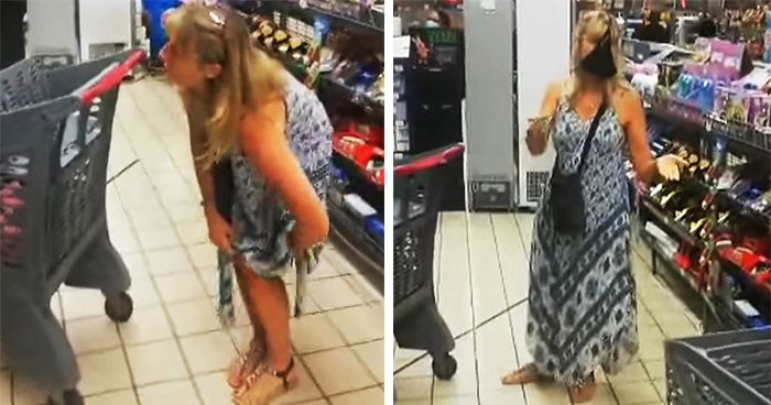 Woman Takes Off Her Thong And Uses It As A Face Mask In Supermarket