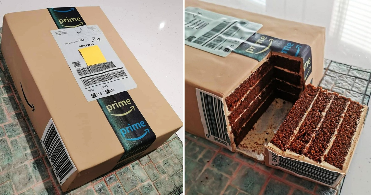 Mom Makes Hyper-Realistic Amazon Parcel Cake For Son's Birthday