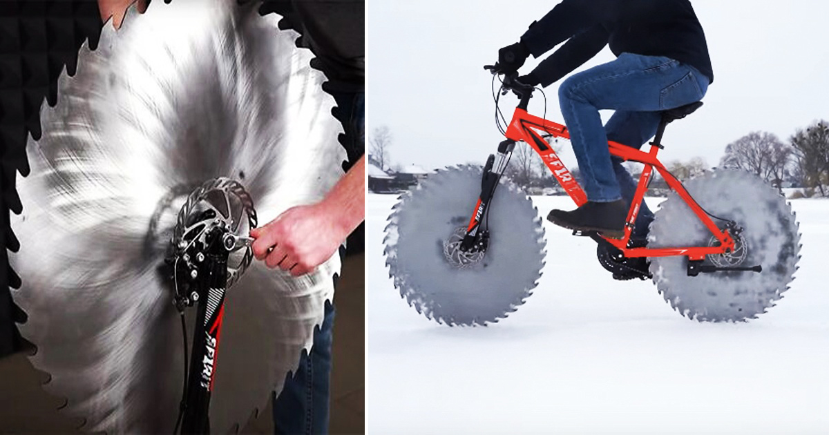 Guy Replaces Bike Tires With Massive Saw Blades So He Can Ride On Frozen Lake