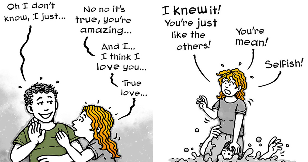 Artist Perfectly Illustrates Toxic Relationships In Her 'Somebody I Used To Know' Comics