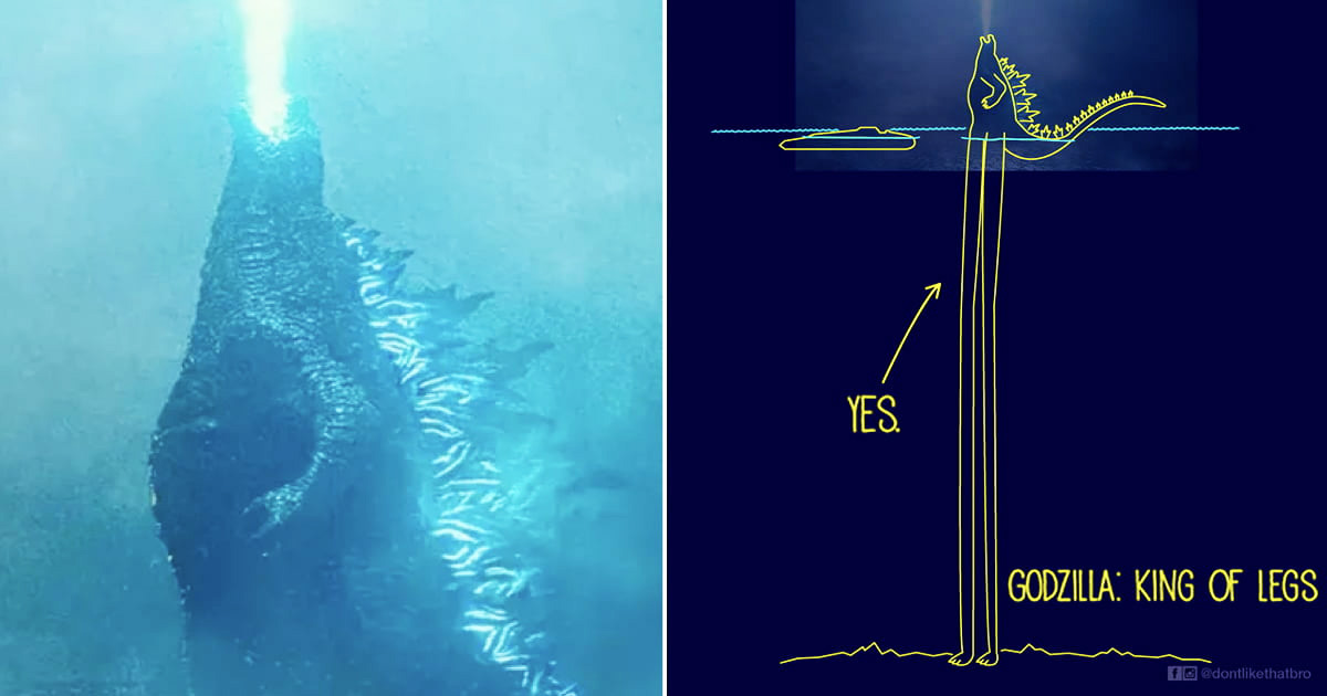Illustrator Tries To Show How 'Godzilla' Was Able to Stand In The Ocean