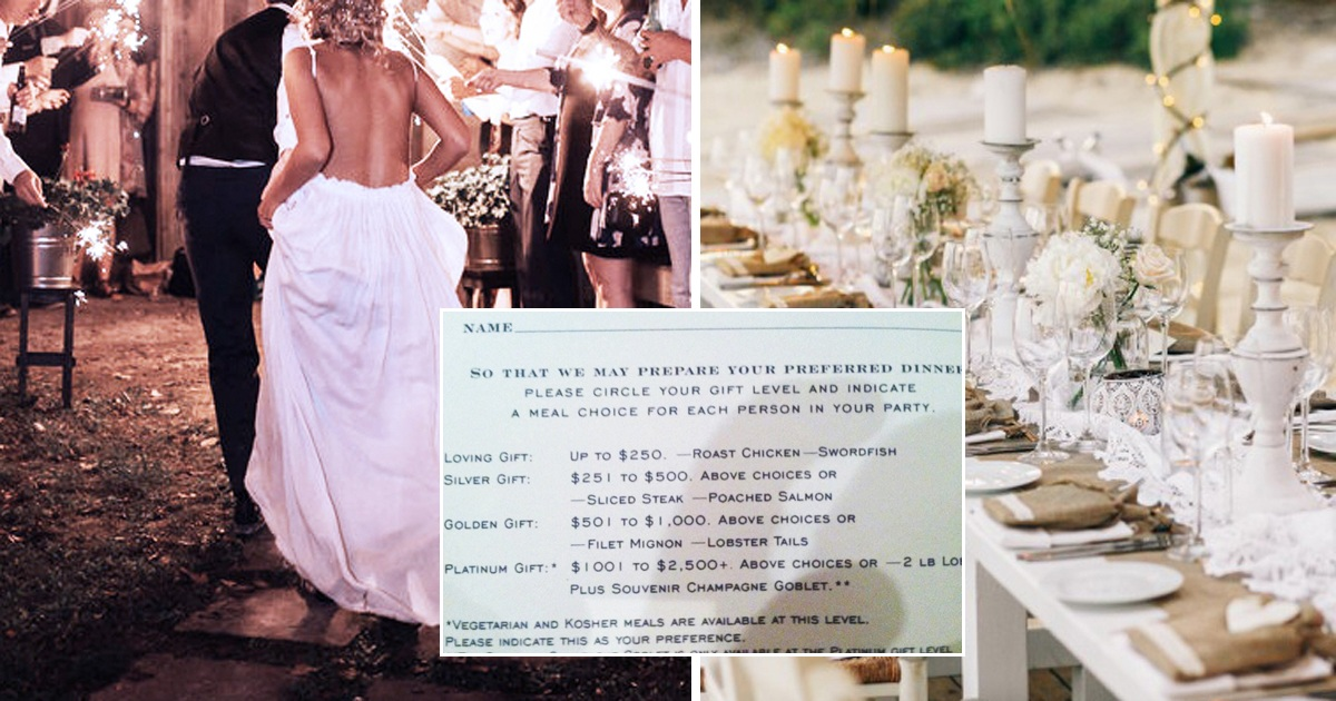 Wedding Couple Blasted For Feeding Their Guests Based On Their Wedding Gift
