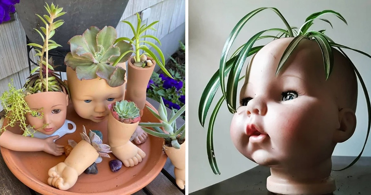People Are Turning Doll Head Into Planters, And Its The New Home Decor Trend