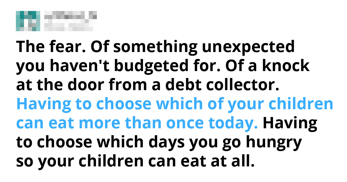Things People Shared Being Poor