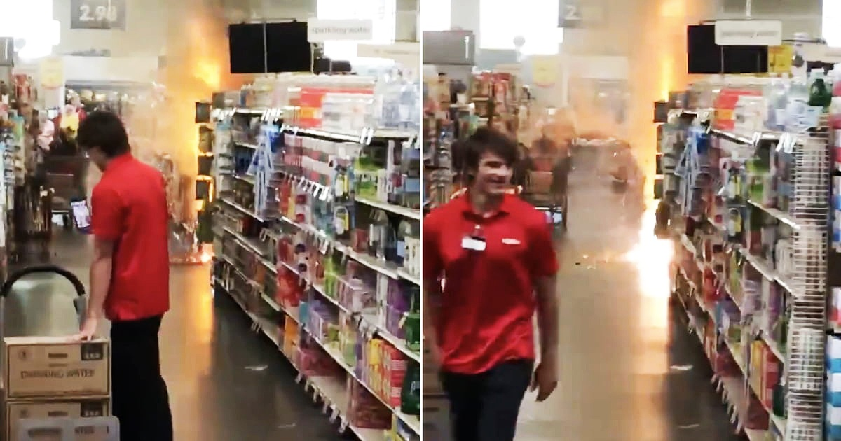 Store Employee Walks Away With Calmly Smile From Teens Setting Fire On Fireworks