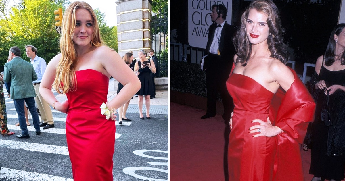 Brooke Shields' Daughter Rowan Rocks Her 1998 Golden Globes Dress To Prom