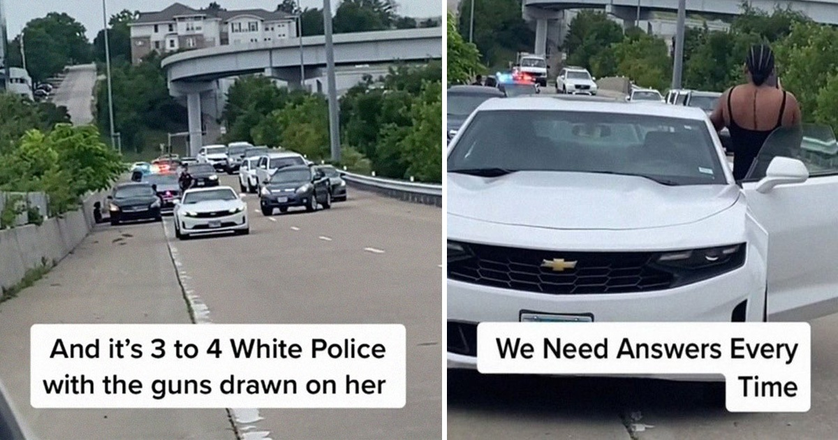 Drivers Pulled Over After Seeing A Black Woman Surrounded By Five Cops And Was Screaming For Help