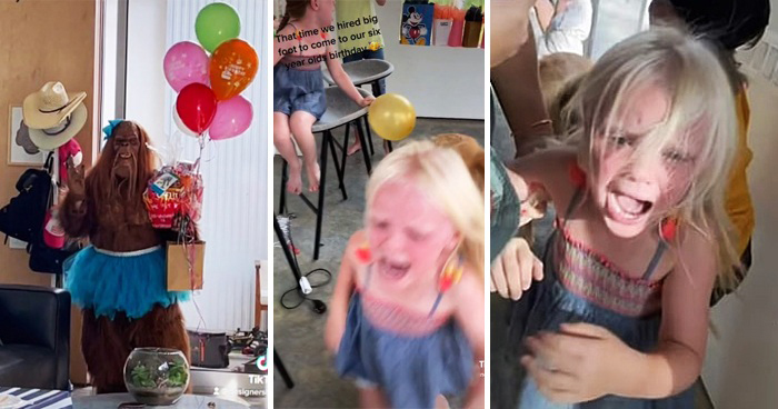 Kids Flee In Horror After Mom Books Big Foot Monster As Surprise Guest At Party