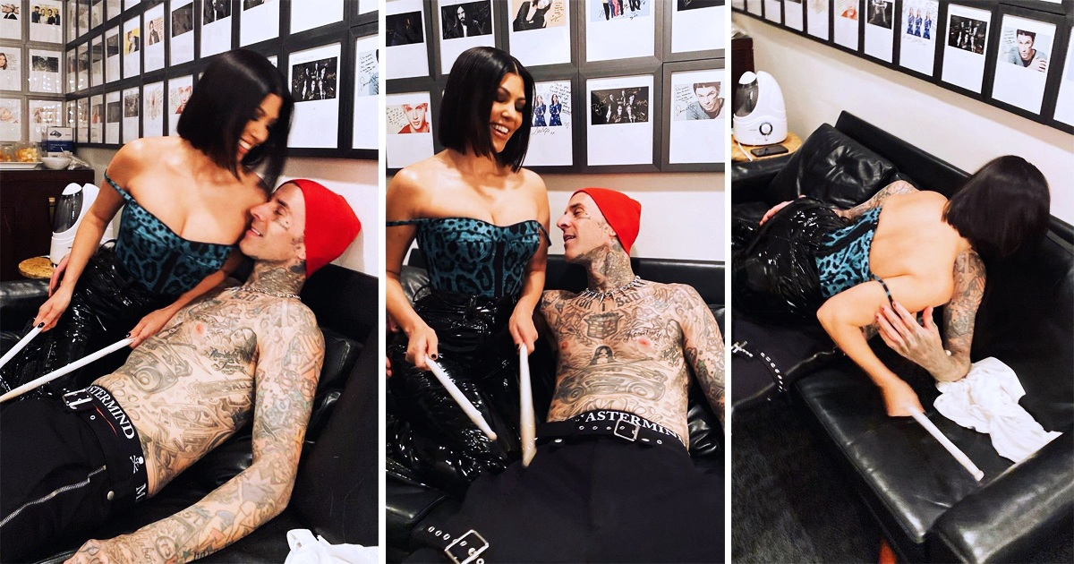 Kourtney Kardashian And Her Beau Travis Barker Cozy Up Backstage Ahead Of His SNL Session